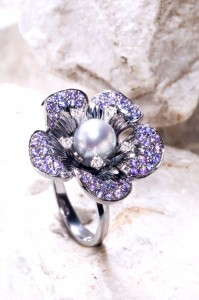 02-R 3D Flower ring-grey pearl +purpple sap090519